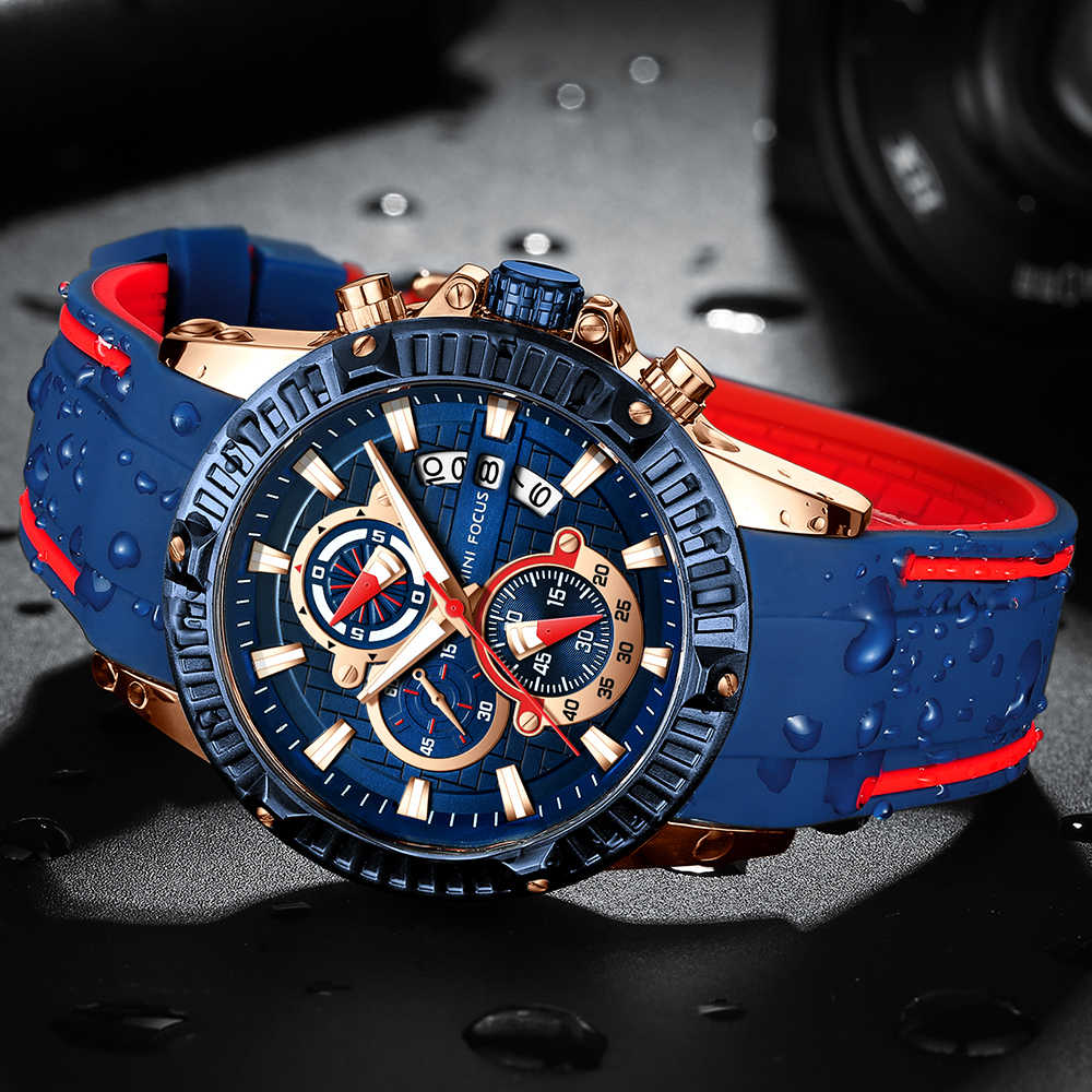 MINI FOCUS แฟชั่นกีฬาทหารนาฬิกานาฬิกาควอตซ์ซิลิโคน Chronograph นาฬิกาข้อมือ Waches ผู้ชายกันน้ำปฏิทิน reloj masculino 2018