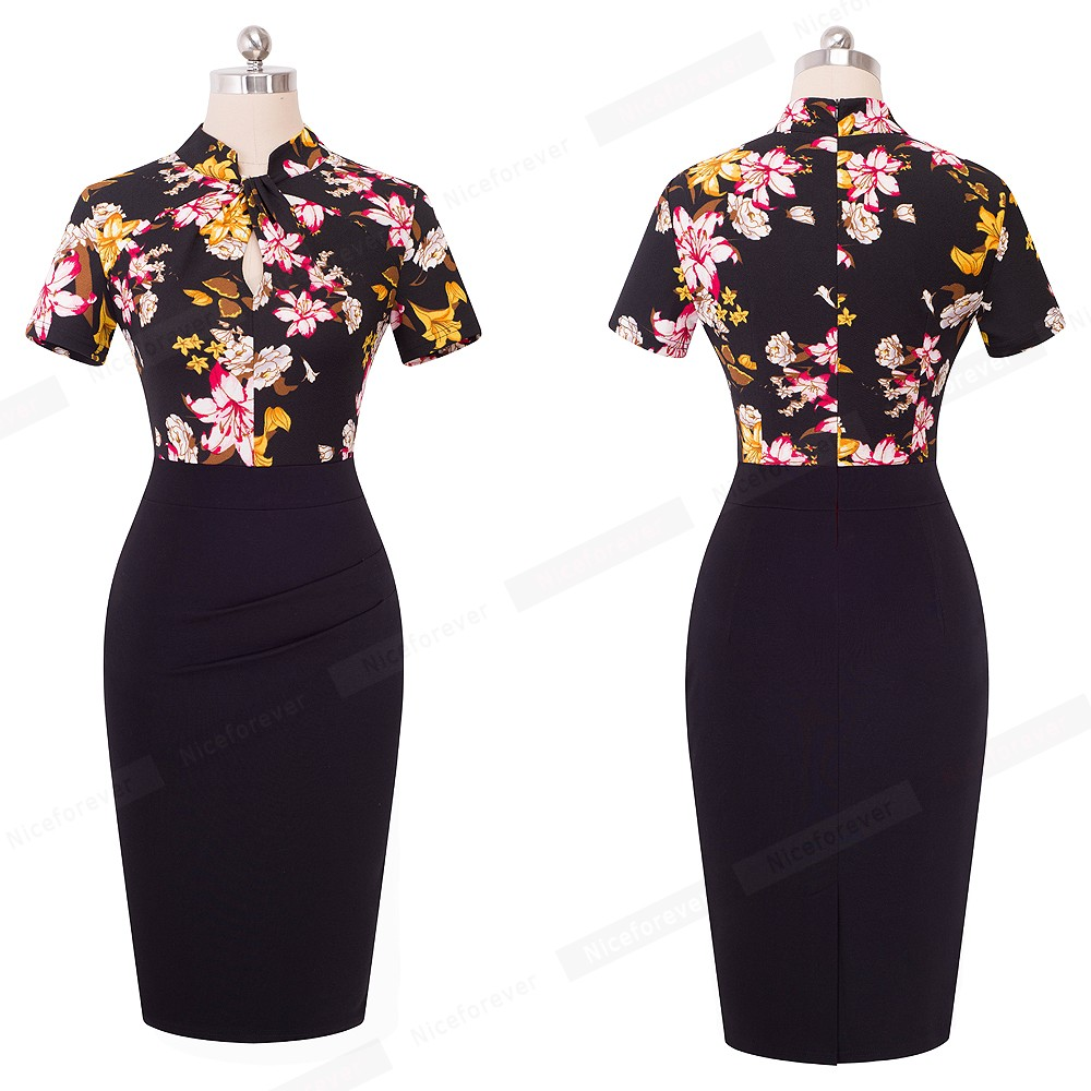 Nice-forever Vintage Contrast Color Patchwork Wear to Work Knot vestidos Bodycon Office Business Sheath Women Dress B430 29