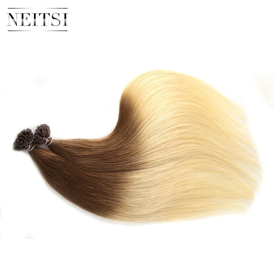 Neitsi Straight Indian Keratin Human Fusion Hair Negle U Tip 100% - Menneskehår (hvid) - Foto 4