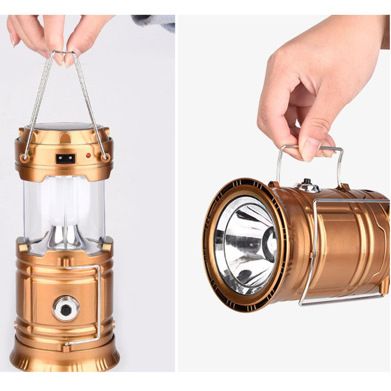 Solar USB Charge Camping Light Rechargeable Portable Telescopic Outdoor Emergency Tent Pony Lantern LED Solar Lamp Aluminum 0.11