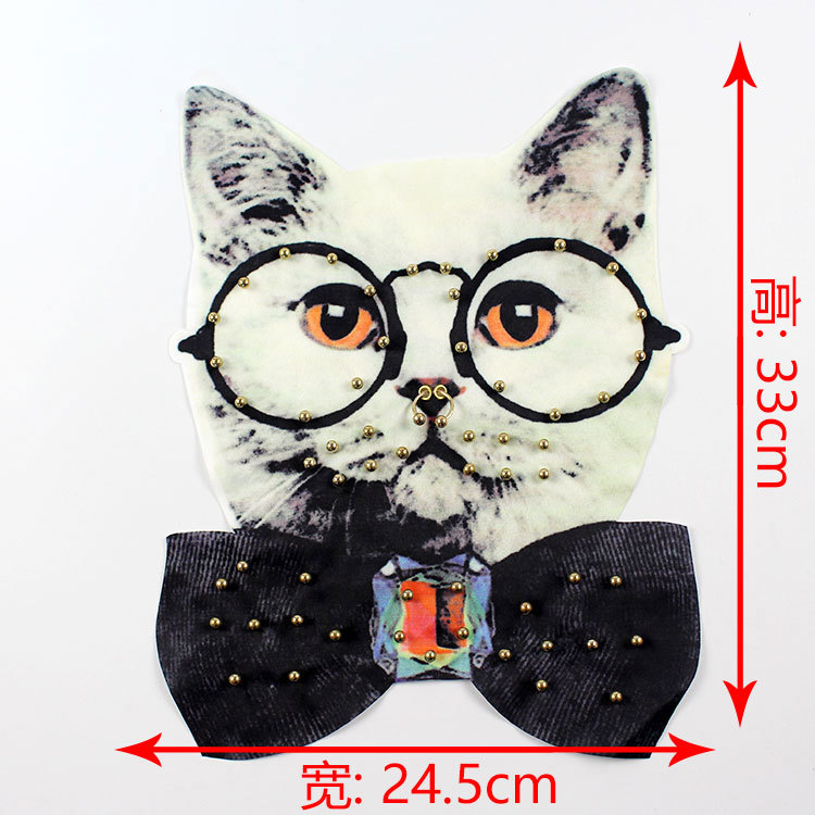 GUGUTREE embroidery beaded big cats patches animal cartoon patches badges applique patches for clothing XC 109 in Patches from Home Garden