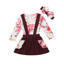 3PCS Toddler Kids Baby Girl Clothes Floral Tops Long Sleeve T shirt Strap Overall Skirt Headband Party Outfits Clothes Set 2019 thanksgiving toddler kids baby girl clothes long sleeve tops plaid pants leggings headband 3pcs outfits clothes set