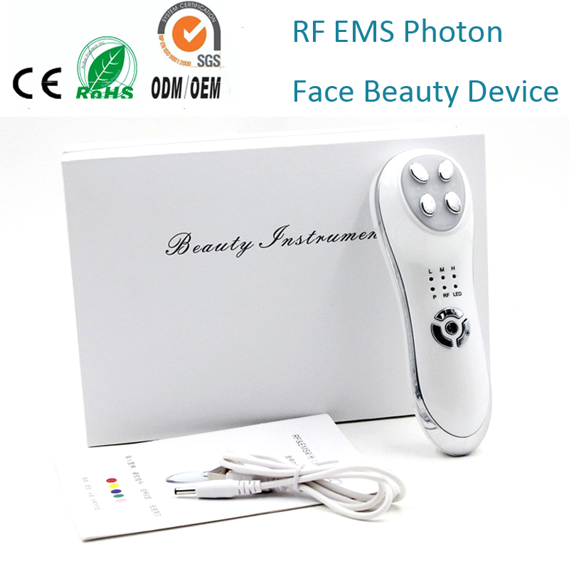 Mini Handheld RF & EMS Led Photon Skin Rejuvenation Vibration Wrinkle Acne Remove Face Lifting Tightening Beauty Massager rechargeable mini rf bipolar led photon light therapy skin tightening facial rejuvenation face lifting beauty skin care device