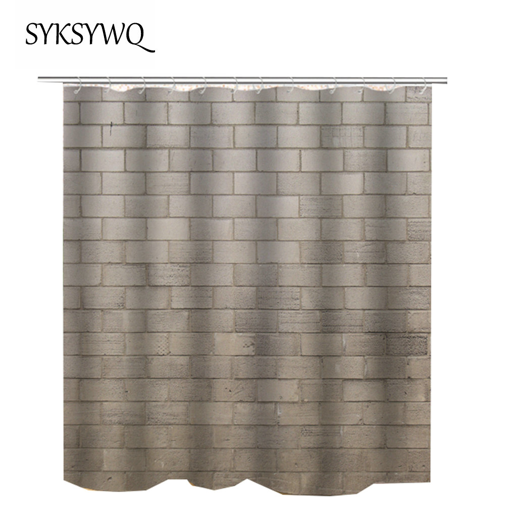 2018 Drop Shipping Bathroom Shower Curtain Bath Fabric Waterproof Polyester Brick Wall In Curtains From Home Garden On