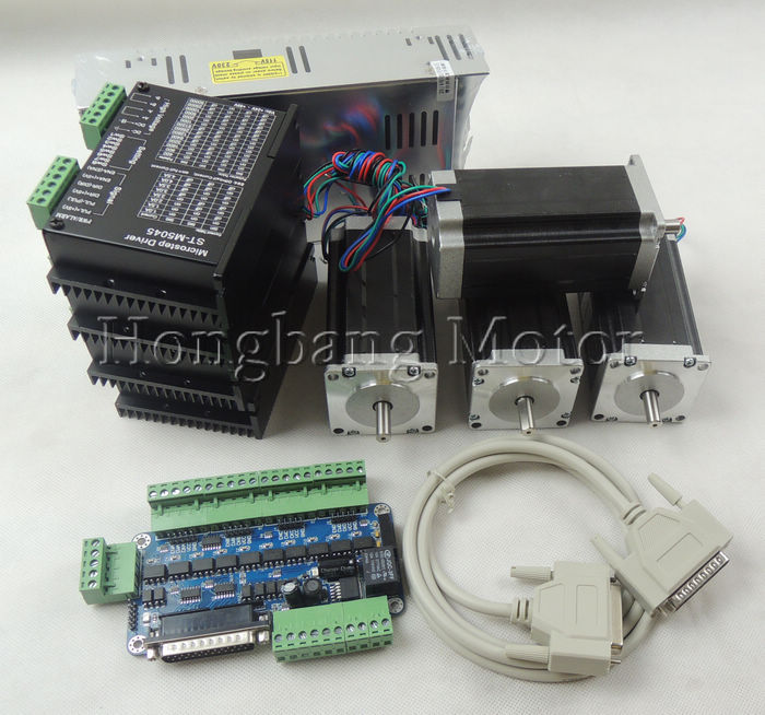 CNC Router Kit 4 Axis kit ST-M5045(replace 2M542) Stepper motor driver+ breakout board+Nema23 425 Oz-in motor+350W power supply cnc router 4 axis kit tb6600 4 axis mach3 stepper motor driver controller kit 5a one 5 axis breakout board for nema23 motors