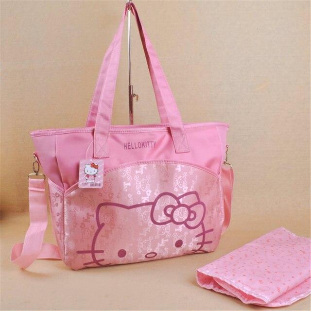 2fb7557da0f0 Cute cartoon hello Kitty high-capacity multi-function mother-to-child  package Much interlayer mummy bag bag
