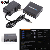 1x2 1 In 2 Out Port HDMI Splitter Amplifier Repeater 3D 1080p Switch Box Hub