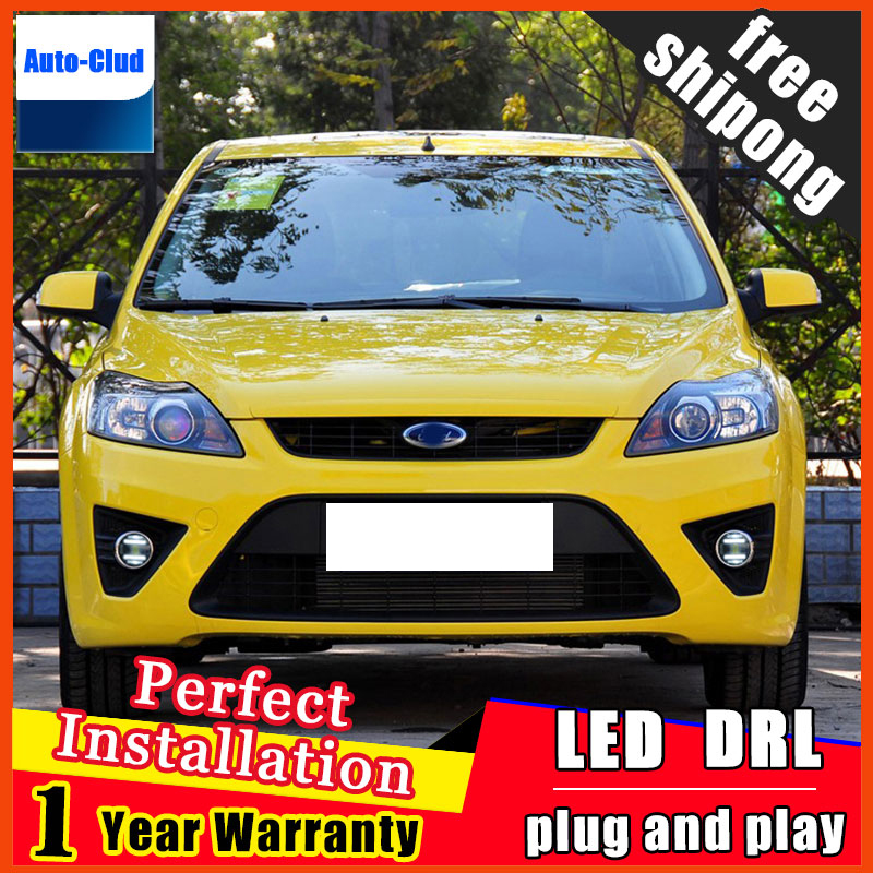 Car-styling LED fog light for Ford focus 2009-2014 LED Fog lamp with lens and LED day time running ligh for car 2 function boomboost 2 pcs car led for ford new focus 2012 2014 daytiime running lights car styling