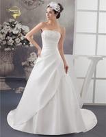 2016 White Ivory Luxury Vestido De Noiva Robe De Mariage Bridal A Line Satin Applique With