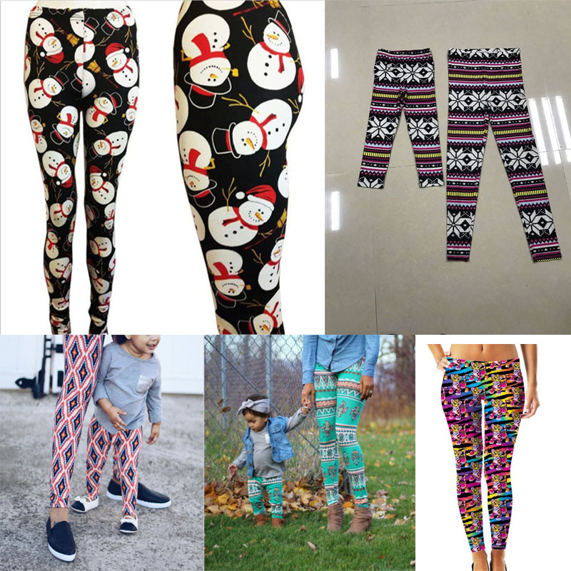a48e2d32fe7265 Mommy and Me One Piece Christmas Leggings Mother Girl Matching Snowman  Print Autumn Winter Long Trousers ...