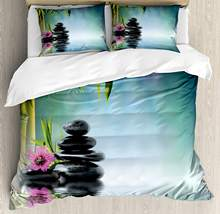 Zen Garden King Size Duvet Cover Pink Flower Spa Stones and Bamboo Tree Water Relaxation Theraphy Peace 4 Piece Bedding Set(China)