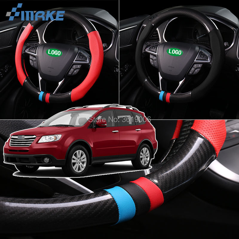 smRKE For Subaru Tribeca Steering Wheel Cover Anti-Slip Carbon Fiber Top PVC Leather Sport Style