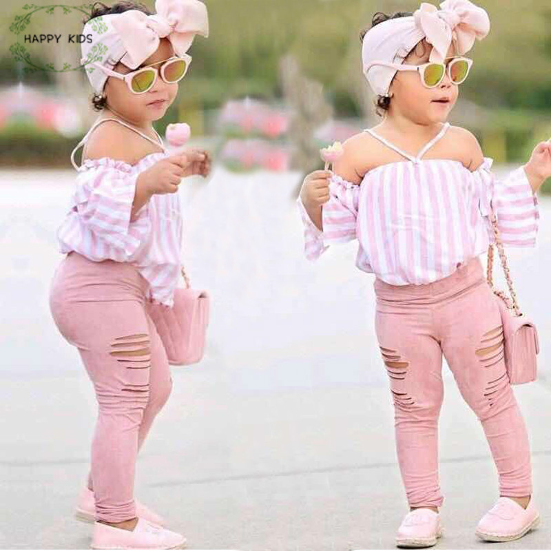 Enfants Bébé Fille stripe Off Épaule Suspendus cou Top + rose pantalon troué Tenues Vêtements D'été 3 pièces Enfant Filles Vêtements ensemble Dtz376