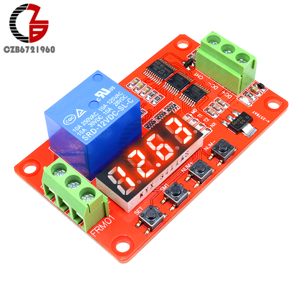 цена на DC 12V Time Relay Self-lock LED Digital Time Delay Relay PLC Cycle Timer Relay Control Switch Car Real Timing Relay Pulse Signal