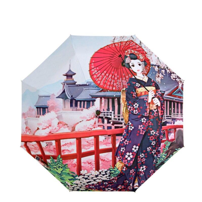 Retro Umbrella Blossom Sakura Costume Girl Pattern Anti-UV Sun Parasol Women Rain Umbrellas