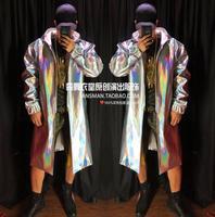 Горячая 2019 для мужчин новый ночной клуб бар куртки певец симфония Лазерная Длинные свободные куртки мода с капюшоном персон