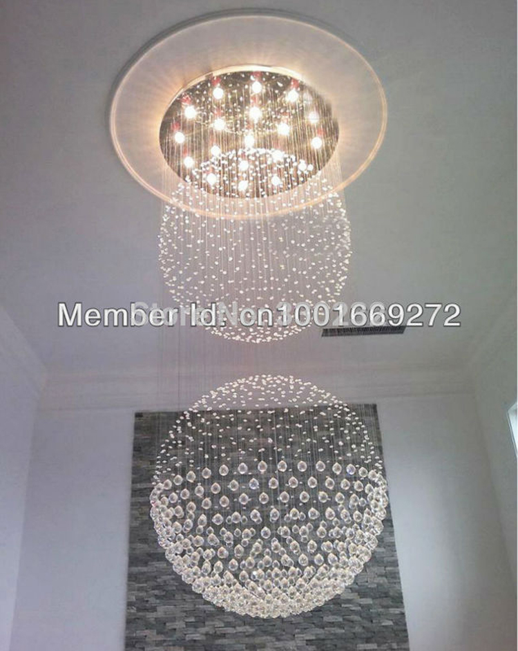 13 LED Bulbs Dia80CM* H240CM Staircase Clear Crystal Chandelier Double Balls Shaped Ceiling Lamp Flush Mount Lighting