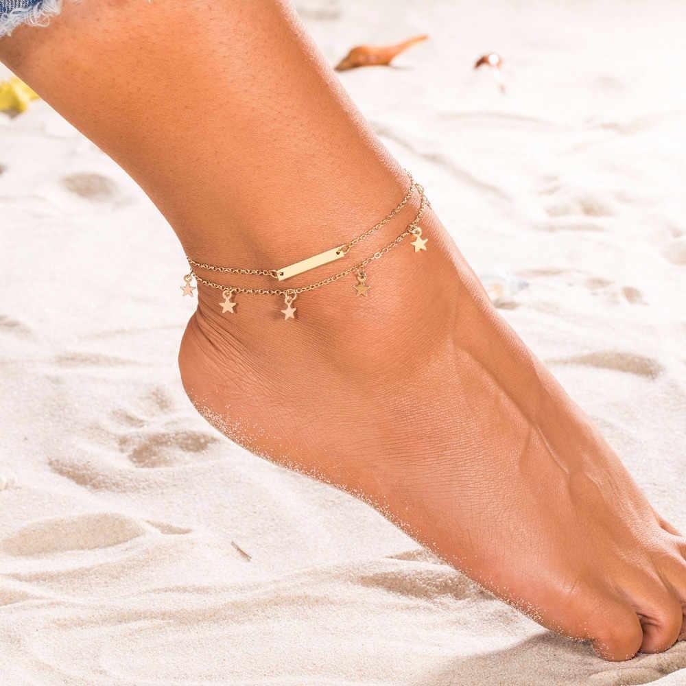 โบฮีเมียนข้อเท้า Star จี้แฟชั่น Multilayer เครื่องประดับ 2019 ใหม่ Anklets สร้อยข้อมือสำหรับสตรีฤดูร้อนชายหาด Anklet