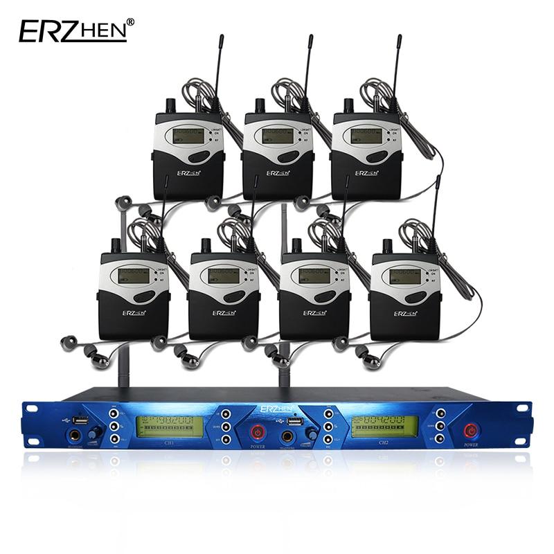 Sistema de monitor de oído EM5012 en sistema inalámbrico de monitor de oído con 7 receptores y 1 monitor de sonido de estudio transmisor