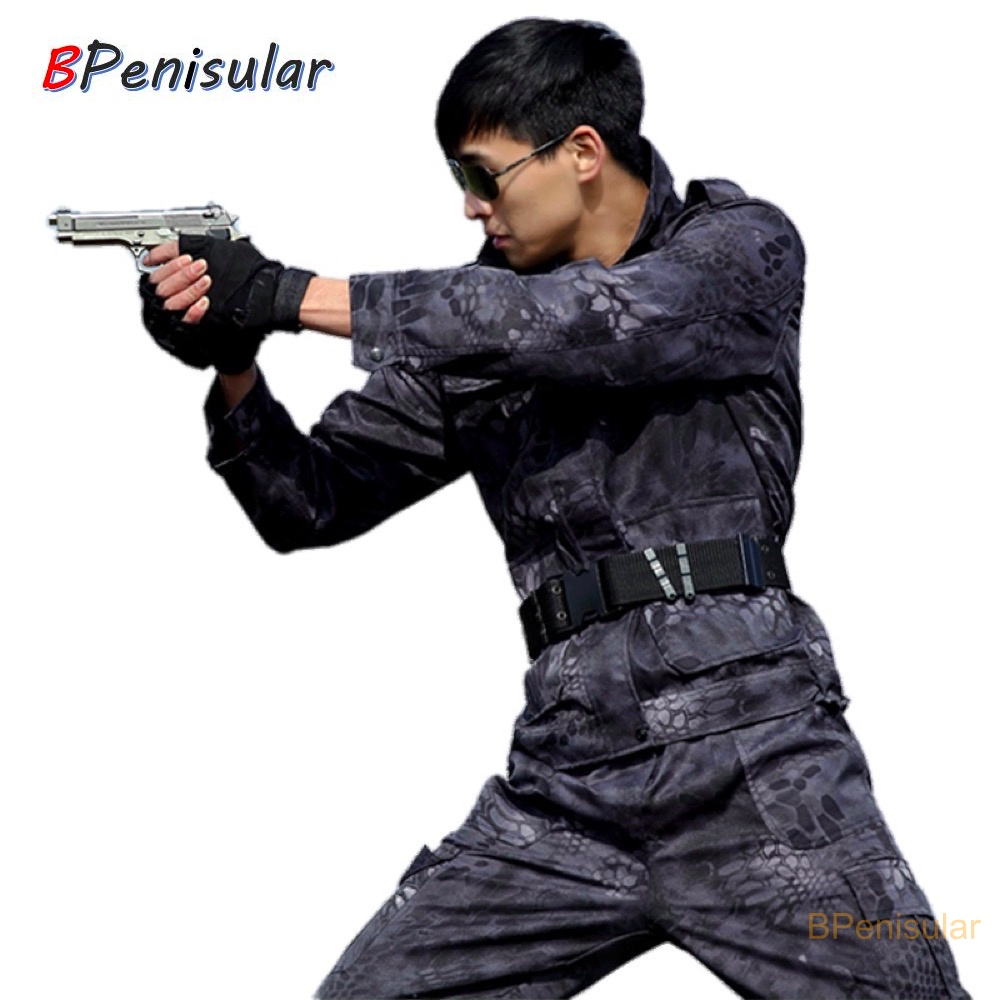 Army Camo Clothing Men Military Uniform Black Hawk Python Military Tactical Combat Jacket Cargo Pants Suit CS Fardas
