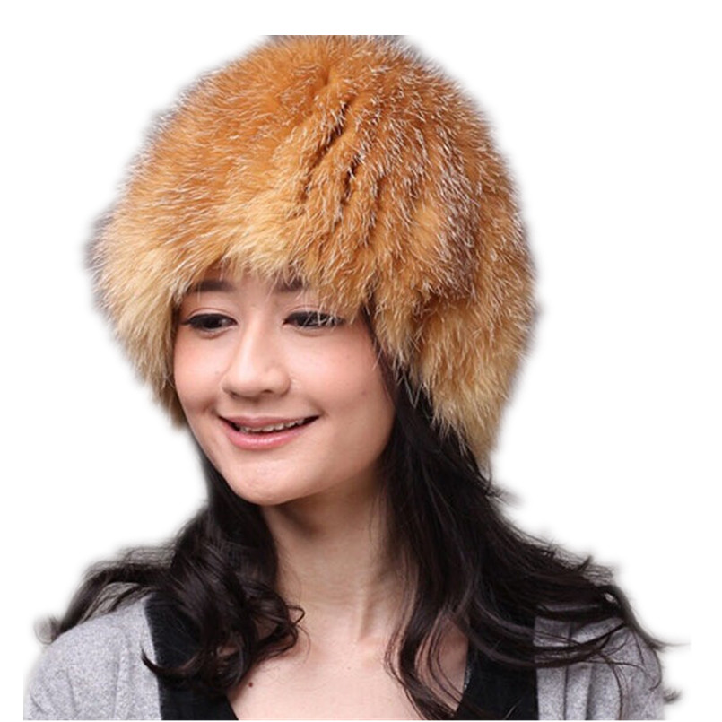 winter hats with real fox fur women autumn winter warm genuine silver fox fur beanies gray white gold H178