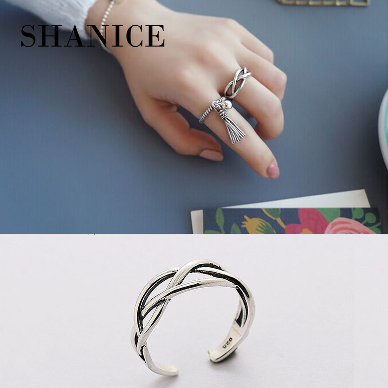 SHANICE Trendy Sterling Silver Jewelry Fashion Rings for Women Simple Cross Vintage Old Thai Punk Cool Female Finger Round Ringe