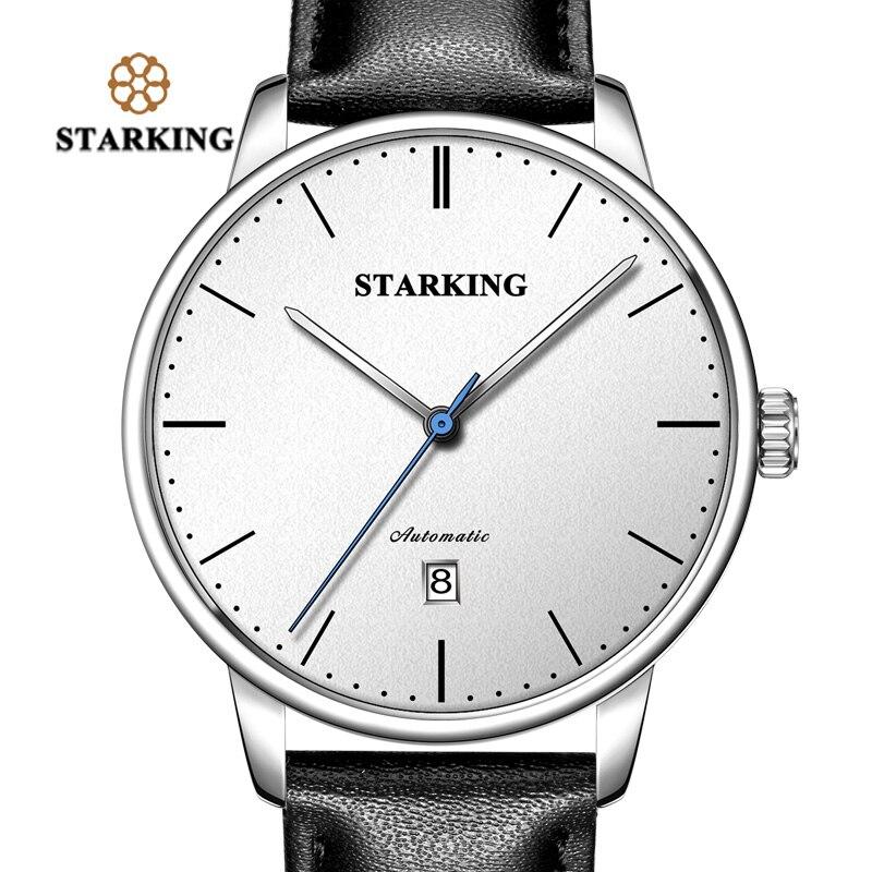 TM0915 STARKING Luxury Brand Cheap Mechanical Watch Auto Date Automatic Self-wind Male Clock 28800 High Beat Watch Relogio Sport