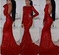 Borgoña Vestido de Fiesta 2017 Con Lentejuelas Cuello Barco Por Encargo Backless Atractivo Elegante Vestidos de Noche Vestidos de Fiesta Largo 4271311