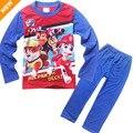3-8 T de Los Niños Pijama de Manga Larga ropa de Dormir Para Niños Chicos de Dibujos Animados Ropa Homewear Bebé Pijamas de Patrulla ropa