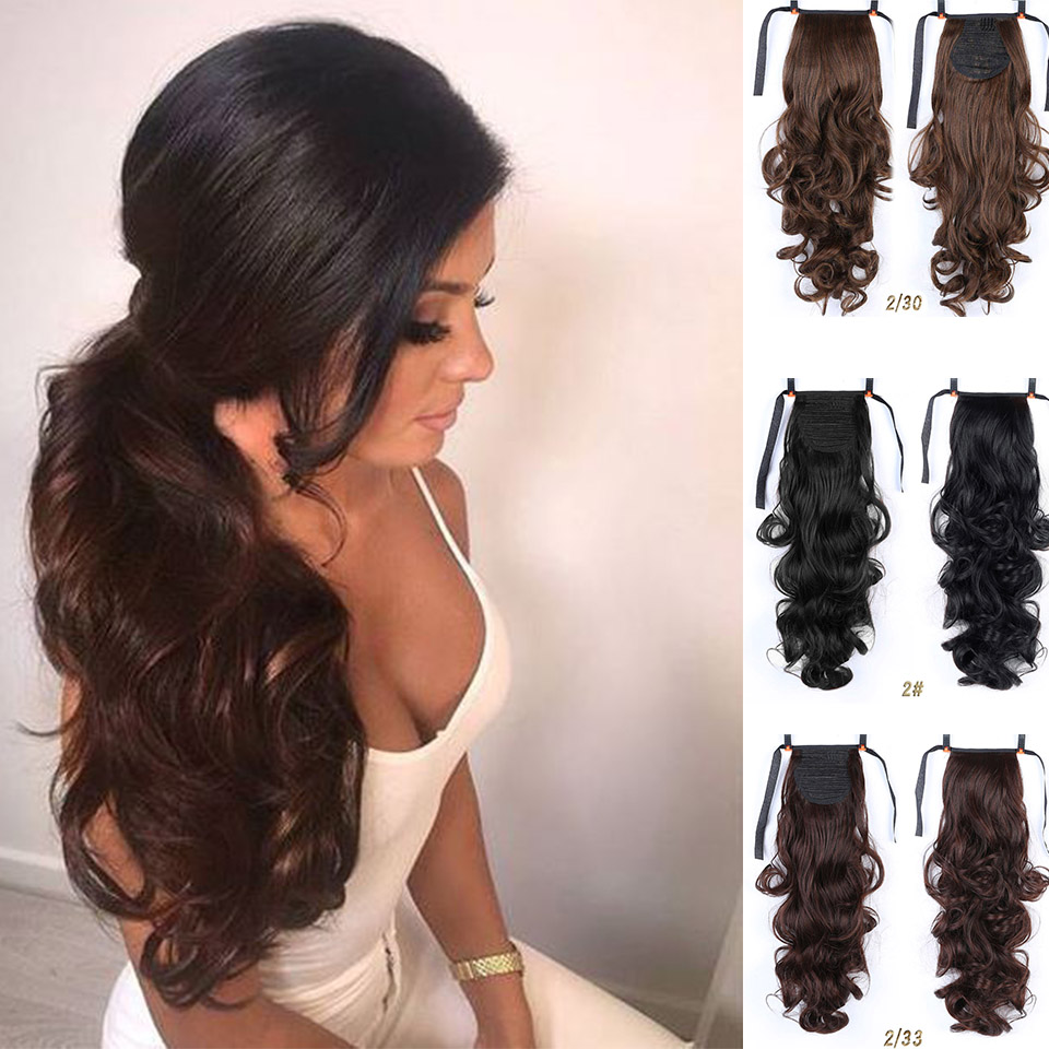 MUMUPI Synthetic band ponytail extension clip wig natural swing clip in human hair extension ponytail wig   headwear
