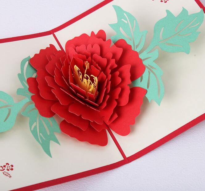 10pcs peony flower handmade kirigami origami 3d pop up greeting 10pcs peony flower handmade kirigami origami 3d pop up greeting cards invitation postcard for birthday wedding party gift in cards invitations from home mightylinksfo