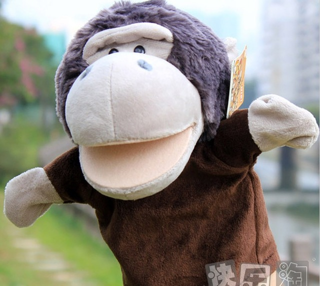 Candice guo cartoon nici orangutan monkey game story hand puppet sleep plush forest animal doll stuffed pacify toy baby gift 1pc