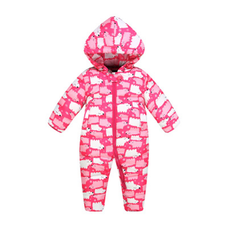 2017 New Jumpsuit Baby Clothing 80% White Duck Down Jackets Babies Winter Clothes For Girls Boys One-Pieces Rompers With Hooded christmas 2017 brand new winter newborn infantil baby rompers kid boys and girls clothing real fur jumpsuit down overall jacket