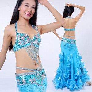 Image 2 - Performance Belly Dancing Costumes Oriental Dance Outfits 3pcs Women Belly Dance Costume Set Bra Belt Skirt