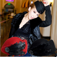 Women British style of Beret New Luxury feather stewardess cap fedora hat female fashion solid wool vintage Hats for