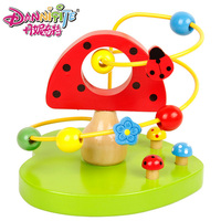 Early Children Learning Toy Kids Baby Colorful Wooden Around Beads Apple Mushroom Education Toy Gift