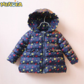 Menoea 2017 NEW Girls Hooded Jacket Butterfly Print Down Pakas Girls Winter Outerwear&Coats Casual Children's Snowsuits 3-7Y