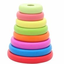 Новинка,, деревянные игрушки Hanno Tower Rainbow Jenga, кольца, соответствующие строительные блоки, детские развивающие игрушки