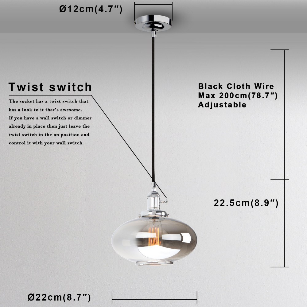 Permo Vintage Pendant Lights Reflective Glass Luminaire Wiring A Light Fixture To Wall Switch Copper