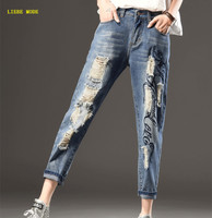 New 2019 Women Plus Size Blue Torn Jeans Ripped High Waist Looses Jeans for Woman Straight Leg Womens Ripped Jeans 5XL 6XL 7XL