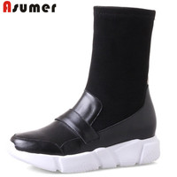 ASUMER 2018 fashion boots women round toe flat platform ankle boots comfortable ladies knitting+genuine leather boots
