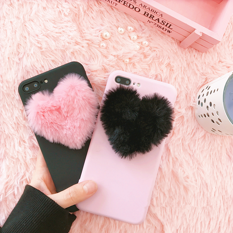 3D Cute Candy Love Hearts Plush Hairy Soft Pink Case For Xiaomi Redmi 4X 5A 5X 6X Redmi Note 4X Note 5A Sprem Sweet Cover