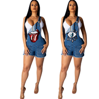 Women Stretchy Jeans Playsuits Backless Sequined Outfits Playsuit Jumpsuits Bodycon Casual Sexy Rompers Jumpsuits