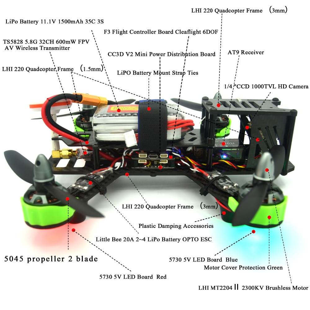 RC طائرة RTF QAV ZMR 220 ملليمتر Quadcopter withflight محاكاة AT9s radiolink 2.4 جرام التحكم عن 5.8 جرام كاميرا إضافة rc طائرة-في قطع غيار وملحقات من الألعاب والهوايات على  مجموعة 3