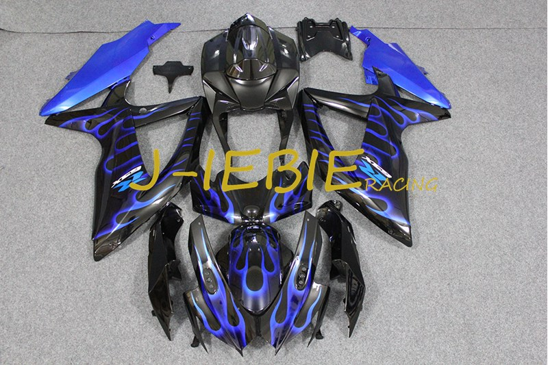 Black blue fire Injection Fairing Body Work Frame Kit for SUZUKI GSXR 600/750 GSXR600 GSXR750 2008 2009 2010
