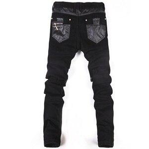Image 3 - Estilo coreano legal calças do punk dos homens da forma com zíperes de couro preto cor apertado skenny mais tamanho 33 34 36 calças de rocha