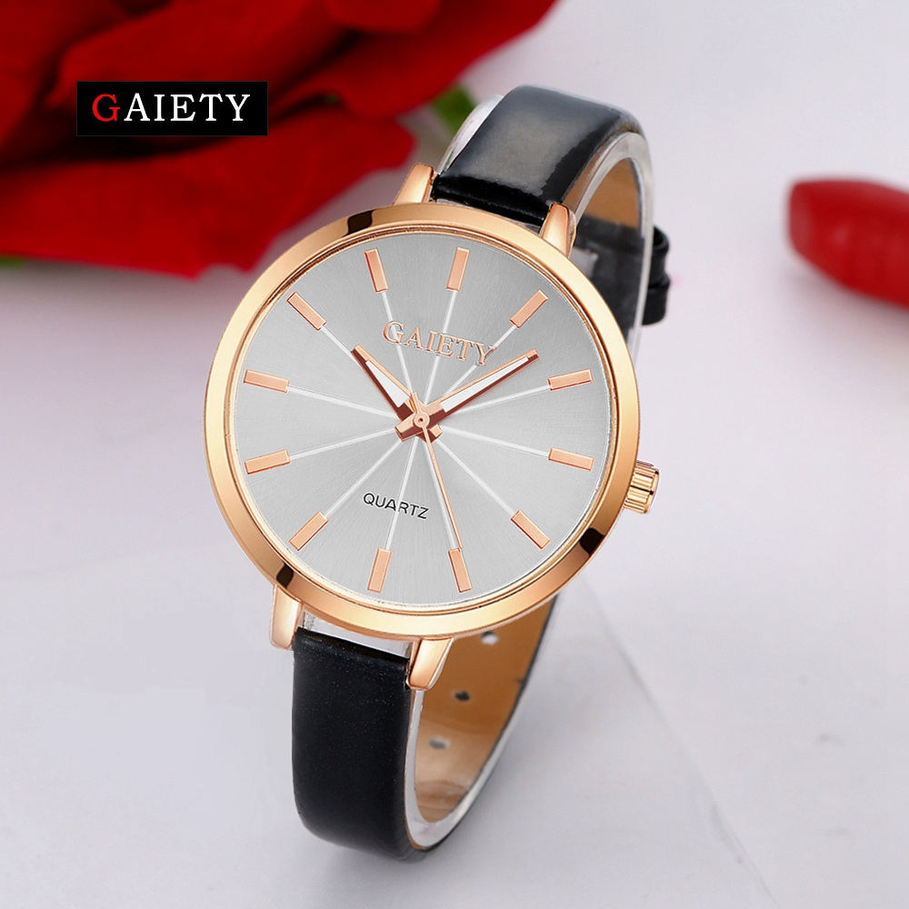 GAIETY Casual Women Quartz Watch Women Leather Bracelet Fashion Watch Ladies Classic Rose Dial Wristwatch Colorful Gift G189 gaiety men s casual stripe dial leather band dress watch g538