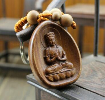 Wood Carved Chinese Dari Kwan Yin Buddha Statue Pendant Key Chain