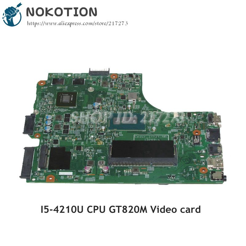 NOKOTION 13269-1 PWB FX3MC For Dell Inspiron 15R 3542 3543 3442 3443 Laptop Motherboard SR1EF I5-4210U CPU GT820M Video card dell inspiron 3542 4019