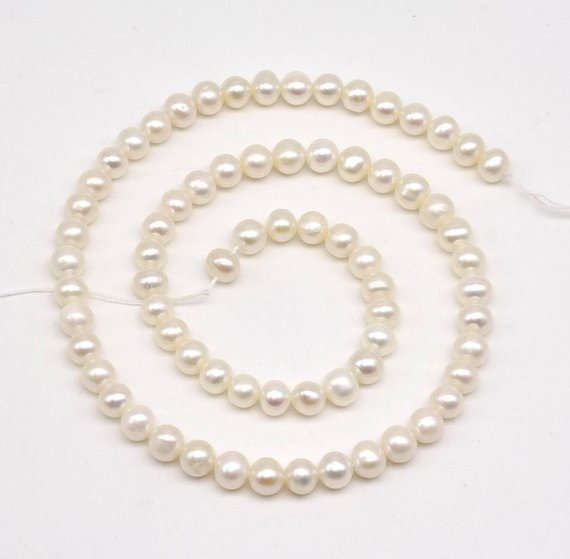 Loose Pearl Jewellery,Top Quality AA 6-7MM Near Round White Freshwater Pearl Beads,One Full Strand,New Free ShippingLoose Pearl Jewellery,Top Quality AA 6-7MM Near Round White Freshwater Pearl Beads,One Full Strand,New Free Shipping